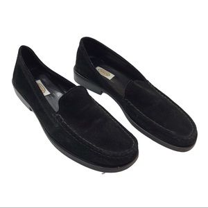 """Talbots Placido black suede loafers, l"""" heels, 9"""